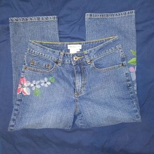 Coldwater Creek Floral Painted Cropped Jeans Sz P4
